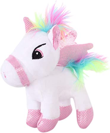Tickles White Unicorn Horse Plush Toy Soft Stuffed for Kids 20 cm