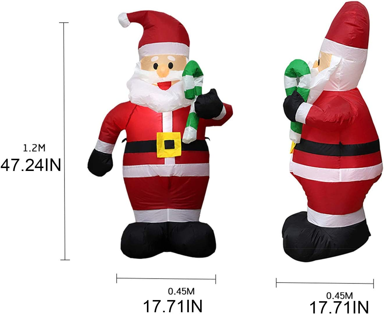 Christmas Inflatable Santa Claus with Candy Indoor /& Outdoor Airblown Christmas Decoration with LED Light Animated for Yard Party Lawn