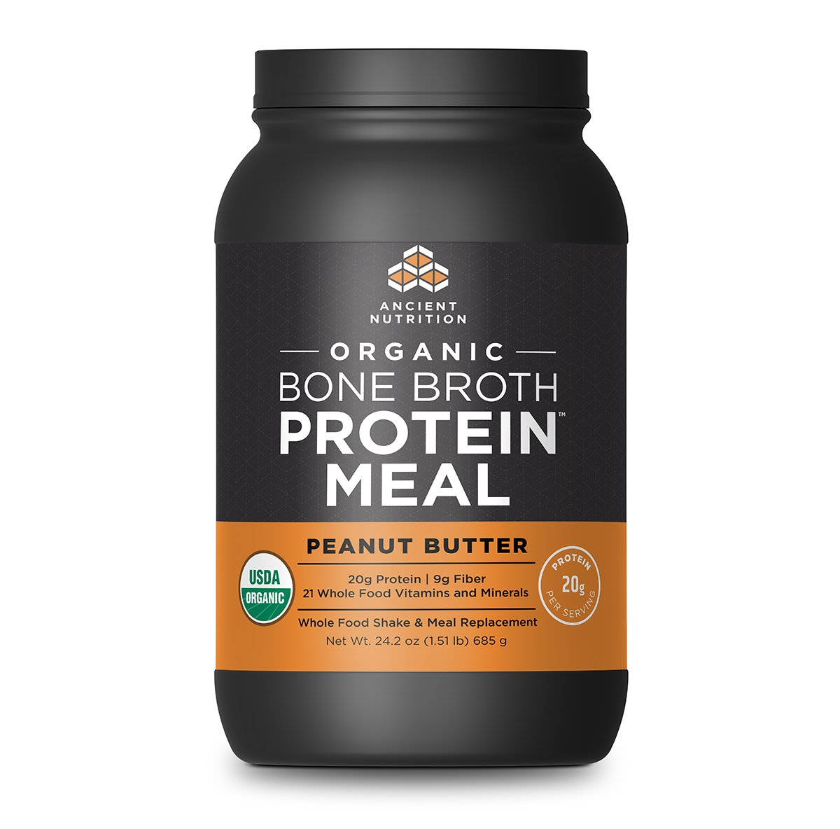 Ancient Nutrition Organic Bone Broth Protein Meal, Peanut Butter Flavor, 15 Serving Size - Organic, Gut-Friendly, Paleo-Friendly, Protein Meal Replacement by Ancient Nutrition