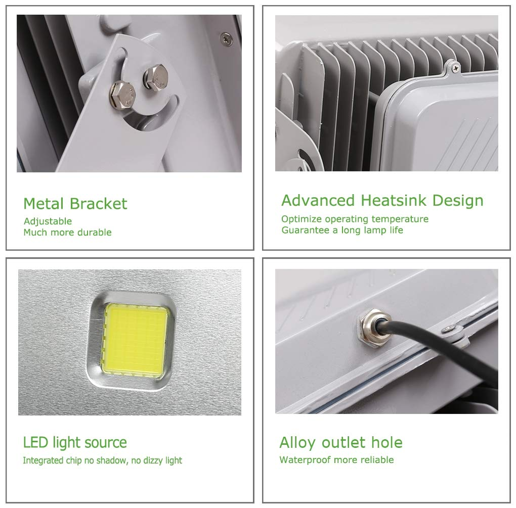 AC 85-265V Compatible WEDO 400W LED Flood Light Ultra Bright 40000Lm Security Lights Silver Gray Shell Daylight White 6500K Outdoor IP66 Waterproof Light Fixtures