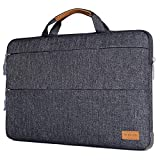MOSISO Laptop Sleeve Compatible 13-13.3 Inch MacBook Pro, MacBook Air, Notebook Computer with Triangle Stand Holder, Polyester Briefcase Shock Absorption Rubber Silicone Bumper Cushion Corner, Gray