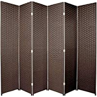 Room Divider Screen Brown Woven 6 Panel