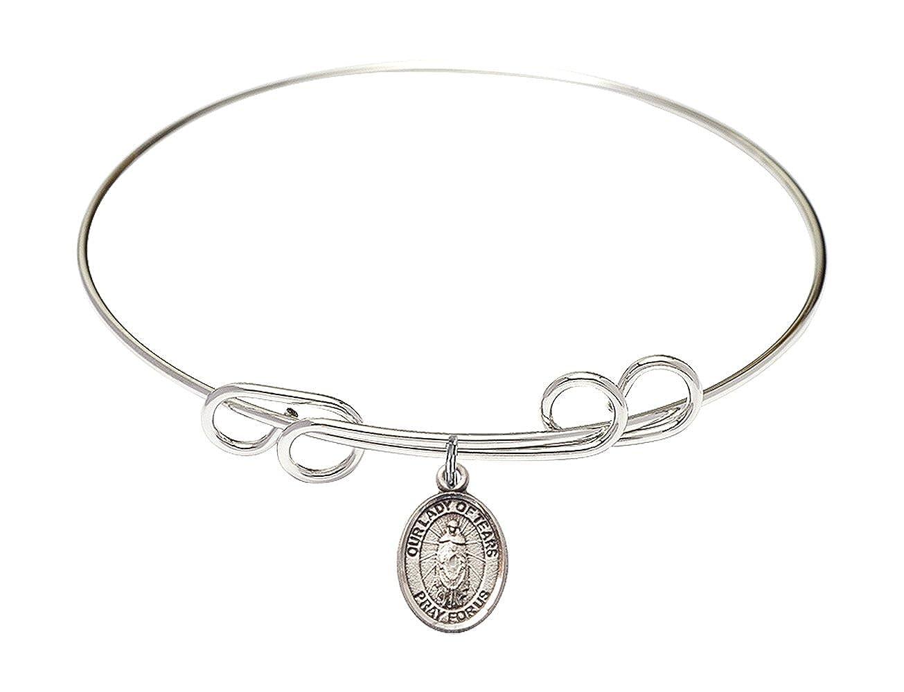 DiamondJewelryNY Double Loop Bangle Bracelet with a O//L of Tears Charm.