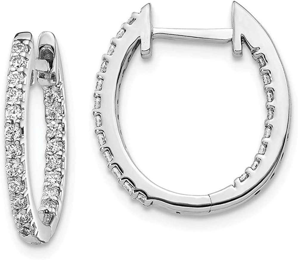 14k White Gold Inside/Out Lab Grown Diamond SI1/SI2, G-H Hinged Hoop Earrings fine jewelry gift for women