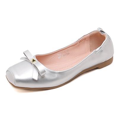 Lady Bowknot Flat Shoes Leisure Sweet Ballet Shoes (6 Beige)