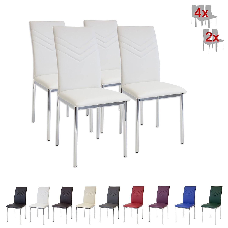 Albatros VERONA Set de sillas de comedor blanco pie de cromo SGS tested