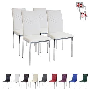 Albatros 2935 VERONA Set di 4 sedie da pranzo, bianco, piede ...