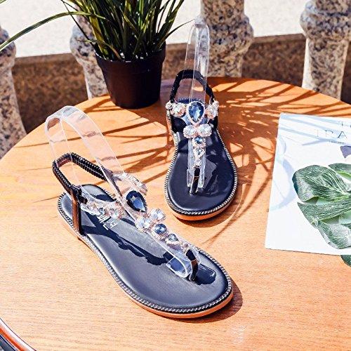 XIAOGEGE Flache Unterseite Clips und der elastische Gurt Sandalen Damenschuhe Sommer neues Wasser bohren Rutschfeste Seaside Beach Schuhe, EU36 Hellgrün