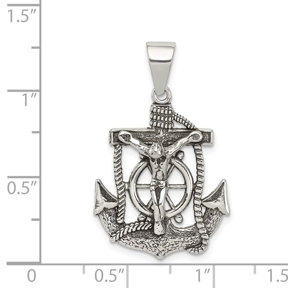 925 Sterling Silver Antiqued Mini INRI Crucifix Polished Charm Pendant