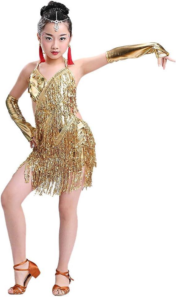 Meijunter Falda de Baile Latino - Honda Borla Lentejuela Vestido ...
