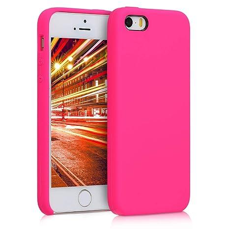 kwmobile Funda para Apple iPhone SE / 5 / 5S - Carcasa de [TPU] para teléfono móvil - Cover [Trasero] en [Rosa neón]
