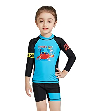 Idrawl Boys Girls Long Sleeve Rash Guard Kids Rash Vest Tankini Set