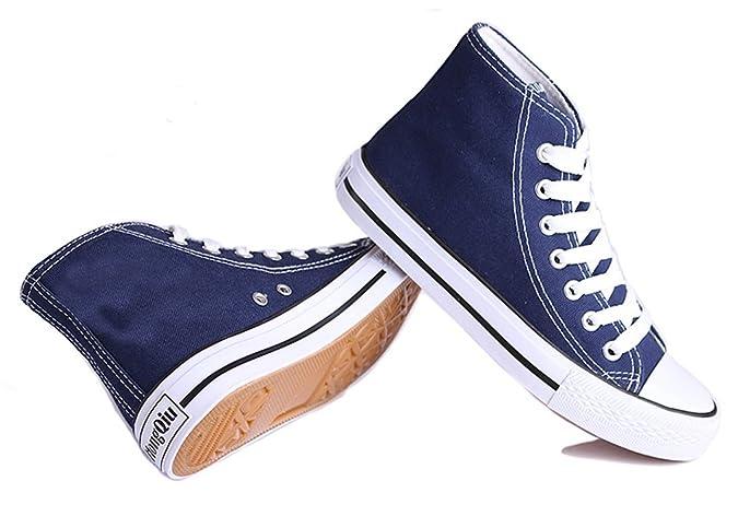 Honeystore Unisex's Sneaker High Schnürer Denim Sneakers Sportschuhe Turnschuhe Flache Leinwand High-Cut Schuhe Übergrößen Flandell Weinrot 38 CN i5azdy