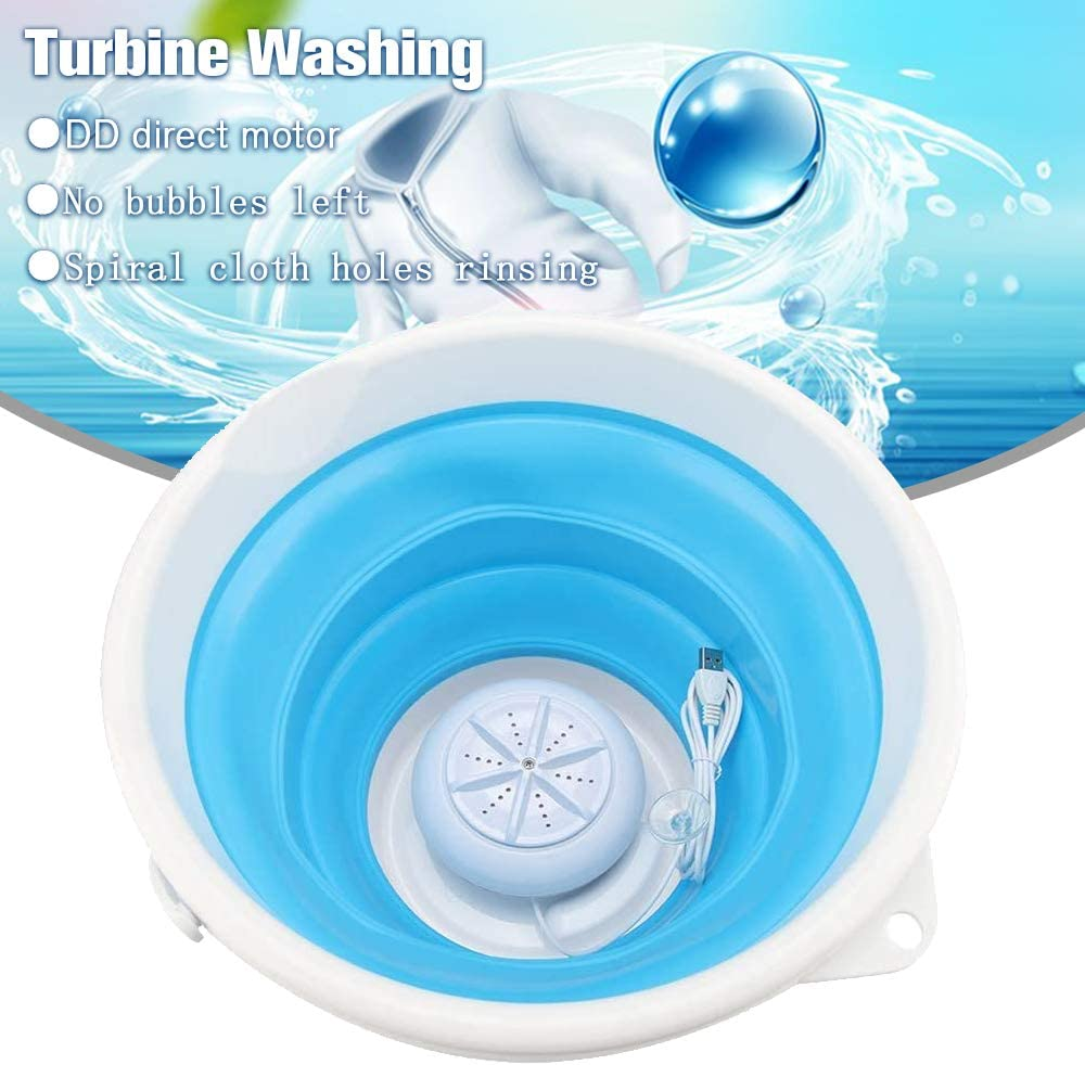 Portable Mini Washing Machine Ultrasonic Turbine Washing Machine Folding Laundry with USB Cable for Travel Apartments Business Trip