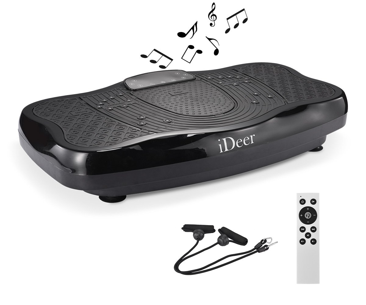 IDEER Vibration Platform Exercise Machine,Fitness Vibration Plates,Whole Body Vibration Machine w/Remote Control&Bands,Anti-Slip Fit Massage Workout Vibration Plate.Max User Weight 330LB. (Black09005) by IDEER LIFE