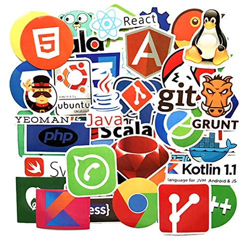 Jasion 50-Pcs Developer Programming Stickers Internet Software Logo Decals for Developers Hackers Engineers Geeks Coders Water Bottles Cars Motorcycle Skateboard Portable Luggages Phone Ipad Laptops