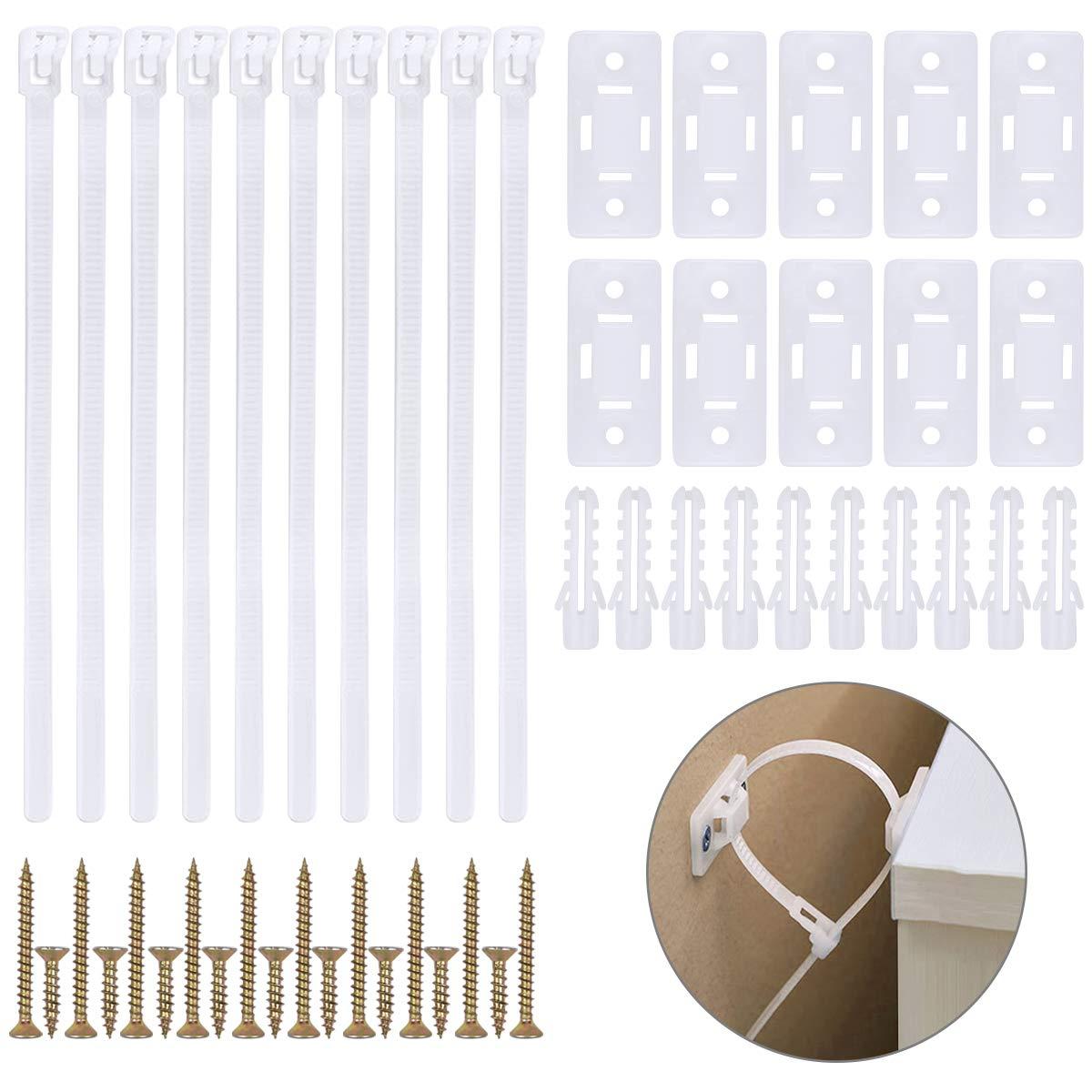 10 Sets Anti-Kipp-M/öbelgurt Nylon M/öbel Straps Kippschutz f/ür M/öbel Wand Sicherheitsgurte f/ür Baby-Proofing /& Haustierschutz