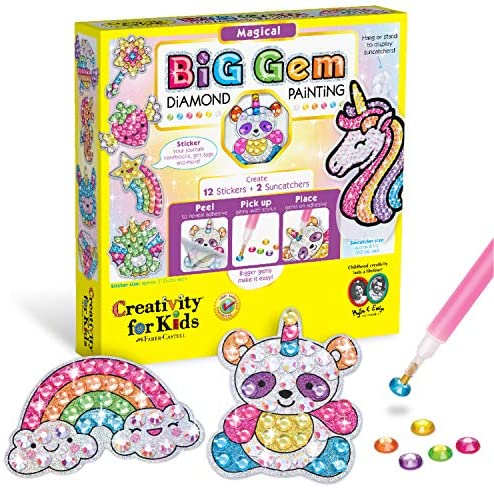 Creativity for Kids Big Gem Diamond Painting Kit – Create Your Own Magical Stickers and Suncatchers – Diamond Art for Kids