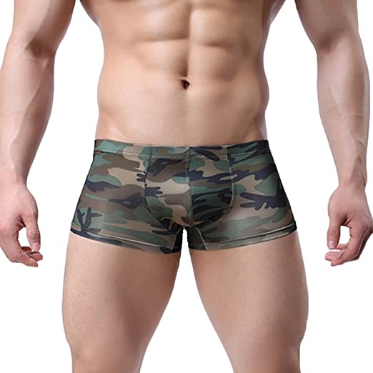 c689af2e2ba440 Baost Men's Sexy Camouflage Military Low Rise U Pouch Underwear Boxer Brief  Panties Workout Shorts Swimwear Trunks
