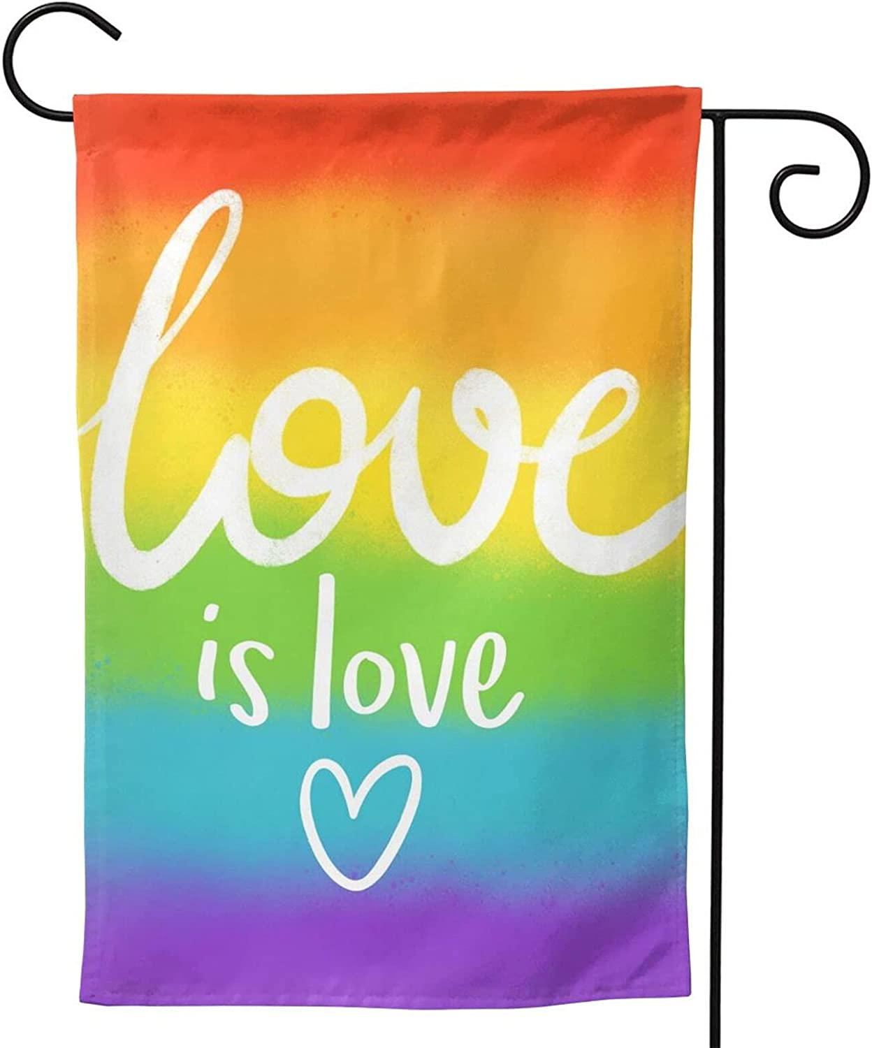 LGBT Love is Love Pride garden Flag Double Sided LGBT Rainbow Pansexual Flags, Love Always Wins Outdoor Signs Gifts for Gay Month Party Parade Decorative 12x18
