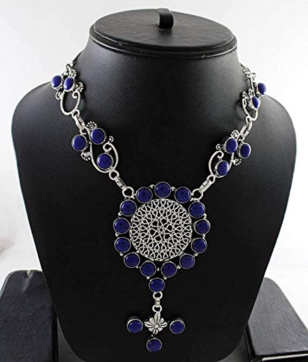 Royal Blue Chalcedony Necklace Silver Overlay Fashion Jewellery Designer Bridal Jewelry Gift 19 Inch