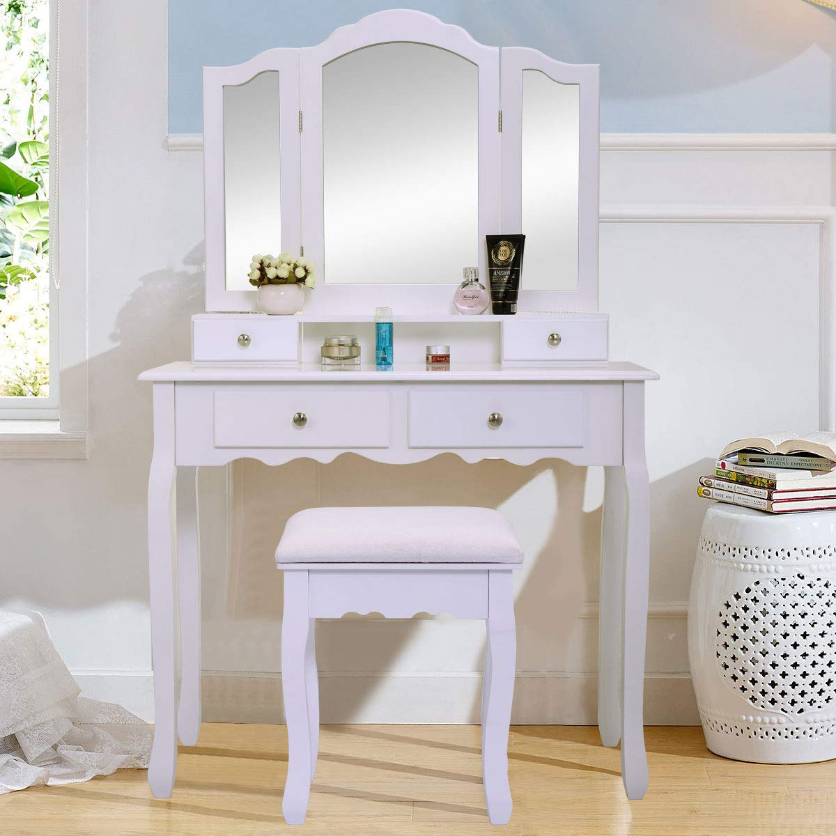 JAXPETY Vanity Table Set with Mirrors and Cushioned Stool Makeup Dressing Table (3 Tri Mirror 4 Drawer) by JAXPETY