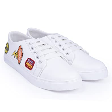025a9b3bd Trendy Look Men's Casual White Sneakers: Buy Online at Low Prices in ...