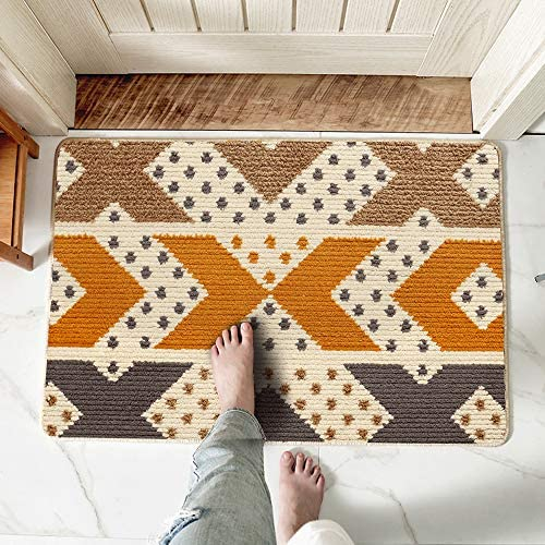 Door Mat Inside – Welcome Mats for Front Door – Cute Soft Indoor Shoe Rug for Entryway Entrance – Absorbent, Dirt Resistant, Non Skid with Rubber Backing, Machine Washable – Indiana 24 x36