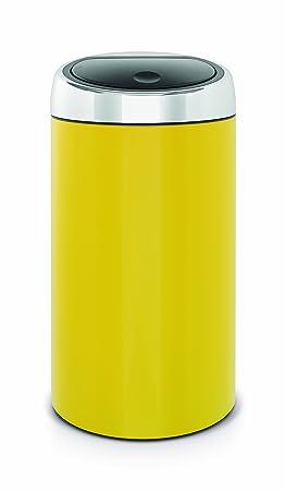 brabantia deluxe poubelle touch bin jaune citron 45 l - Poubelle De Cuisine Jaune