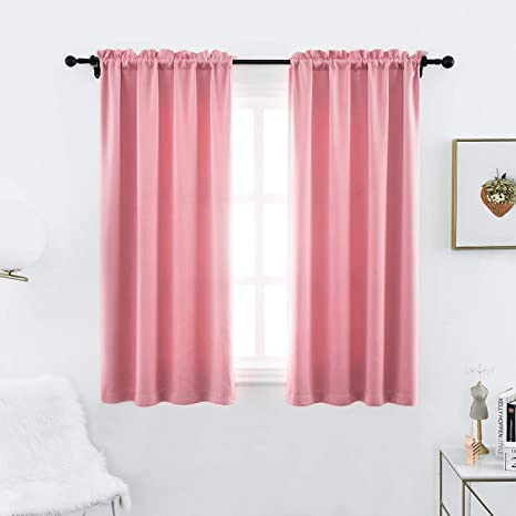 Light Reducing Thermal Insulated Blackout Rod Pocket Curtains Drapes for Living Room Anjee Blackout Curtain Panels 45 inches Long Set of 2, 38 inches by 45 Inch, Black