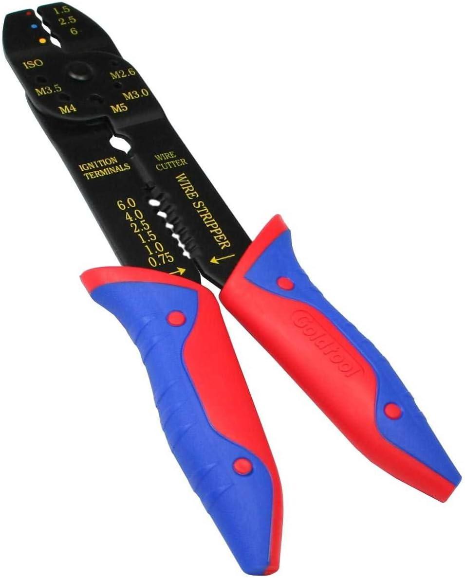 InLine 43054B Pince /à sertir pour cosses de c/âbles 0,75-6 mm avec poign/ées en Caoutchouc