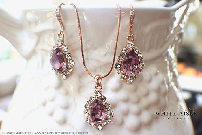 76cacd9b7 Amazon.com: Antique Pink Rose Gold Wedding Jewelry Set Swarovski Crystal  Custom Pendant Earrings Bracelet Hair Comb Hair Pins: Handmade