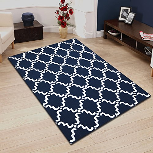 Superior Moroccan Lattice Wool Rug, 100% Wool Pile with Cotton Backing, Hand Hooked & Hand Tufted Luxury Rug, Geometric Trellis Pattern - Navy Blue & White, 5' x 8'