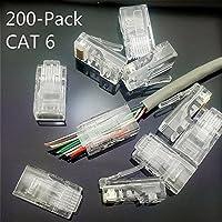 CESS-rj20 CAT6 Pass Through Type RJ45 RJ-45 8P8C Modular Ethernet Gold Plated Net Network End Plug Cable Connectors - 200 PACK