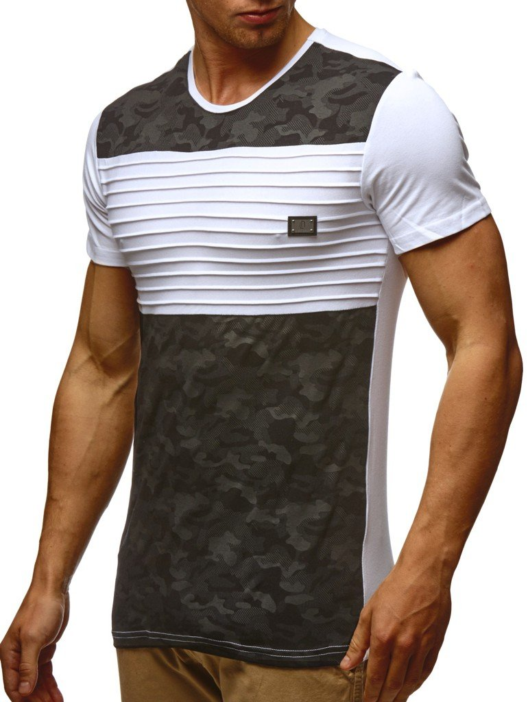 Leif Nelson Mens Summer t-Shirt Crewneck Slim fit Short Sleeve, X-Large,Black-White