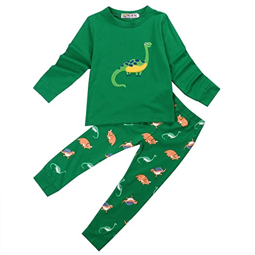 b9dd8b589 Amazon.com  Kmbangi 2 Pcs Kids Toddlers Little Boys Dinosaur Pajamas ...