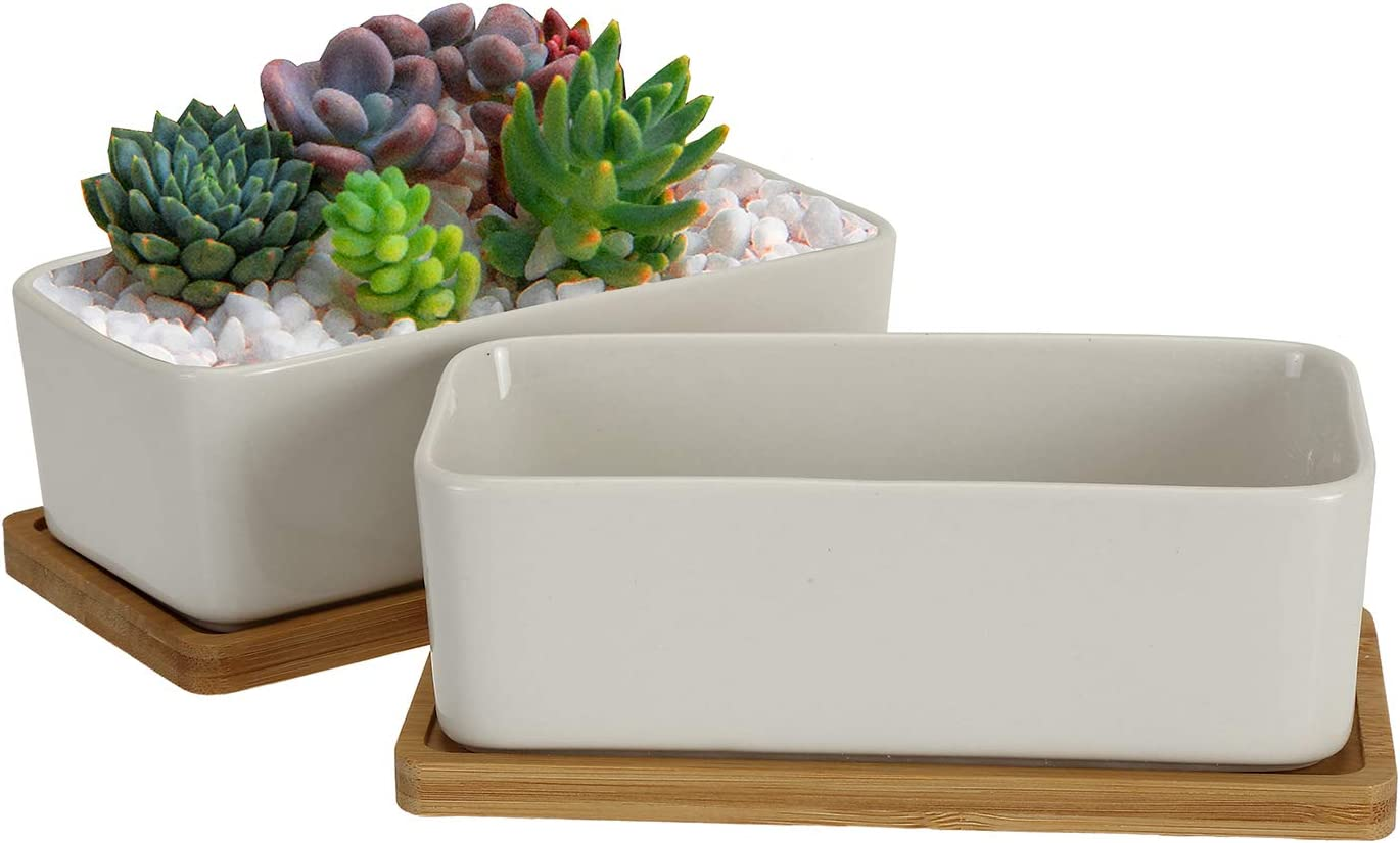 Jucoan 2 Set 6.7 Inches Rectangle Succulent Planter Pot with Bamboo Tray, White Ceramic Flower Pot for Table Desk Window Sill Decoration