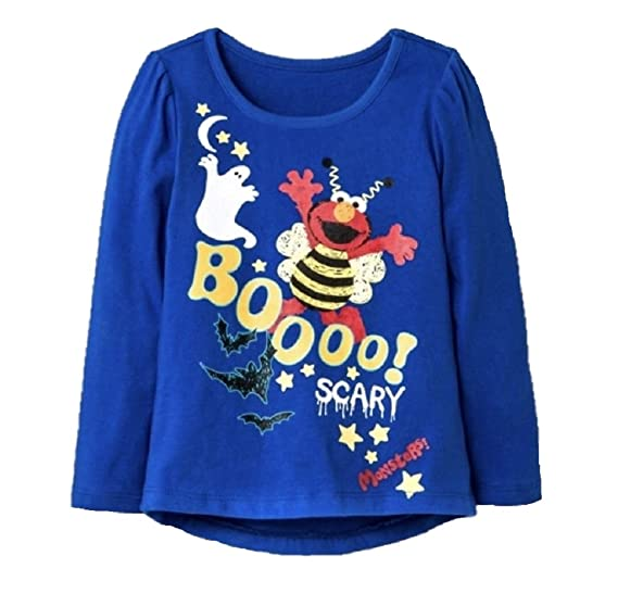 c9a45588 CAN Inc Toddler Girls Sesame St. Elmo Glow in The Dark Halloween T-Shirt