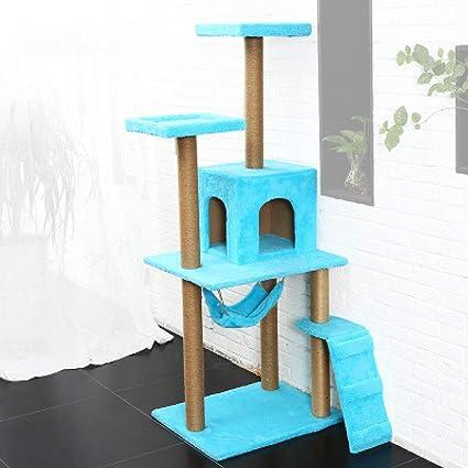 ZHENGDY Sisal Gato Árbol,Grande Superficie Cubiertas Felpa Gato Casa Accesorios,Hamaca Y Escalera