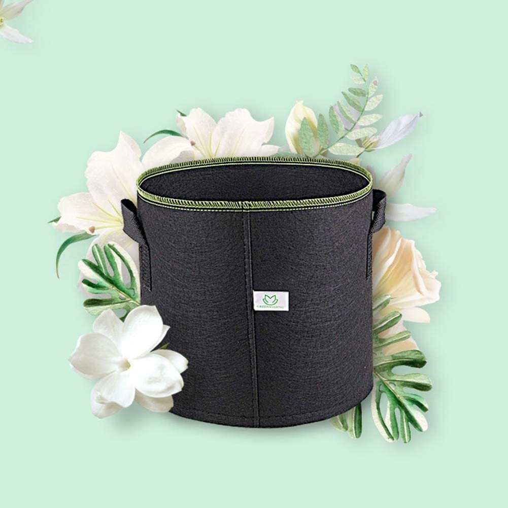 Breathable Nonwoven Fabric Grow Bags Heavy Duty Thickened Aeration Garden Pots Container with Handles Straps for Flowers Vegetables Handfly Plant Growing Bags 3-50 Gallon