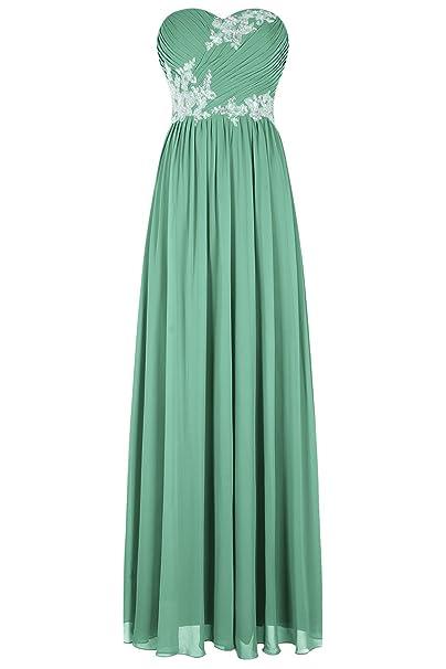 Bbonlinedress Vestido De Fiesta Madrina Boda Noche Largo De Gasa Escote Corazón Verde 38