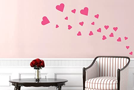 Hearts Wall Stickers And Art Decals Pink