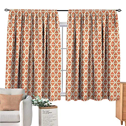(Warm Family Orange Bedroom Curtains Groovy Soft Toned Vintage Stylized Geometric Triangles Skewed Squares Tile Pale Orange Ivory Doorway Curtain W55 x L39)