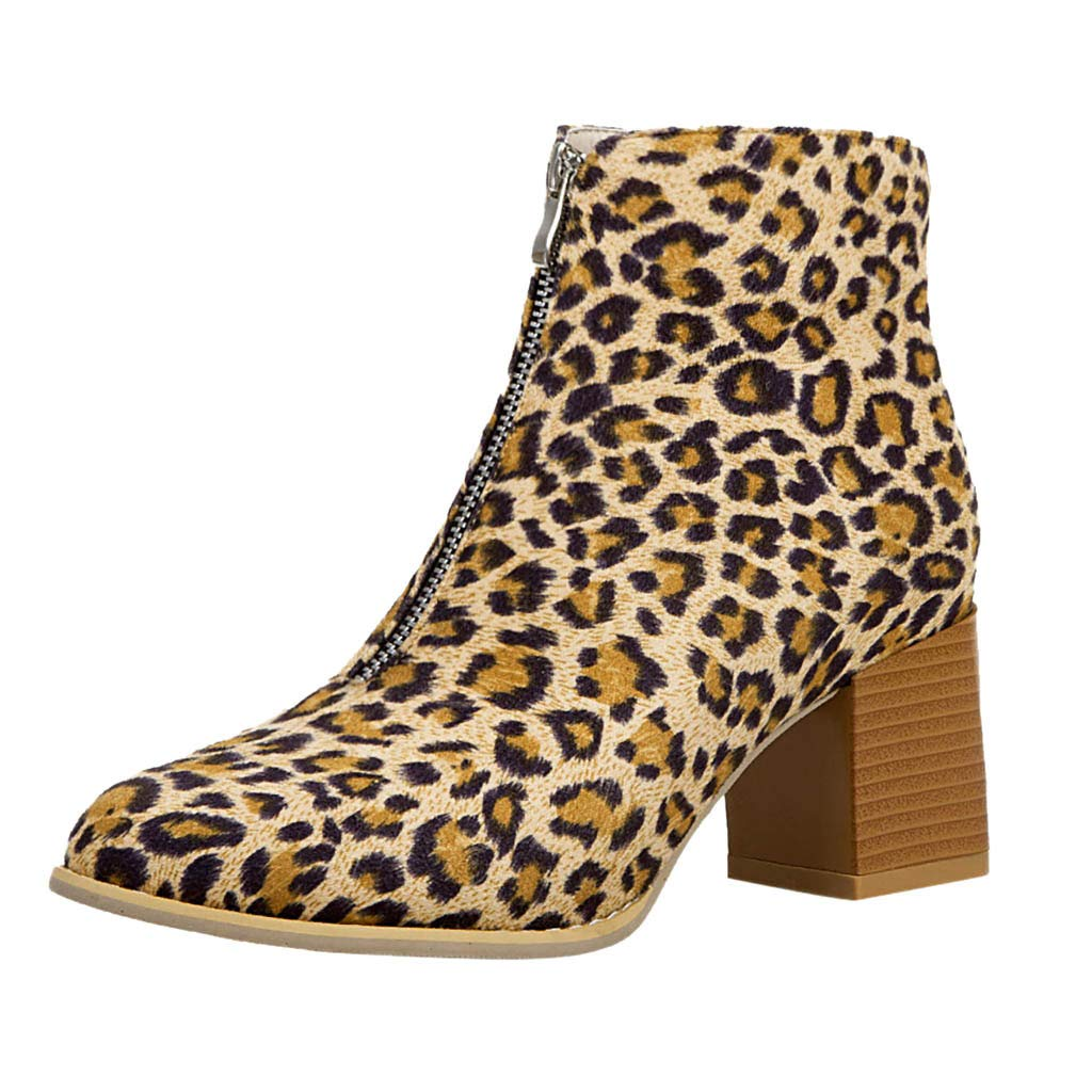 〓COOlCCI〓Ankle Boots for Women, Front Zip up Leopard Booties with Comfortable Heels, Suitable Size for Ankle Bootie New Khaki