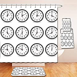 Nalahome Bath Suit: Showercurtain Bathrug Bathtowel Handtowel Clock Decor Clocks with Numbers That Show Every Hour Illustration Hour and Minute Hand Black White