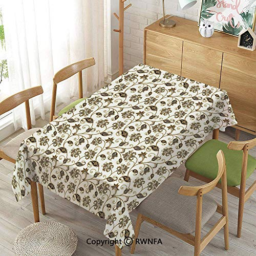 Homenon Tablecloth for Dining Room for Rectangle Tables,Doodle Style Ethnic Arabic Ornamental Flowers and Leaves Swirls Stalks,Indoor Outdoor Camping Picnic,Caramel Dark Taupe Grey,55