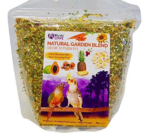 (Birds LOVE All Natural Garden Blend Bird Food for Medium Birds - Cockatiels, Green Cheek Conures, Ringneck Parakeets and Small Quakers)