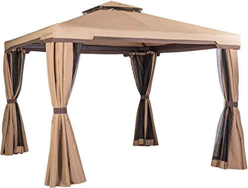 SUNCROWN Outdoor Patio Garden Gazebo 10 x 10 FT All-Season Permanent Gazebo