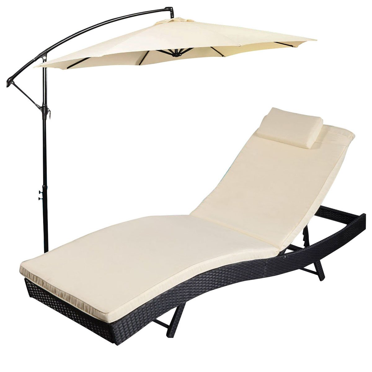 Amazon com tangkula adjustable pool chaise lounge chair outdoor patio furniture pe wicker w cushion with umbrella garden outdoor