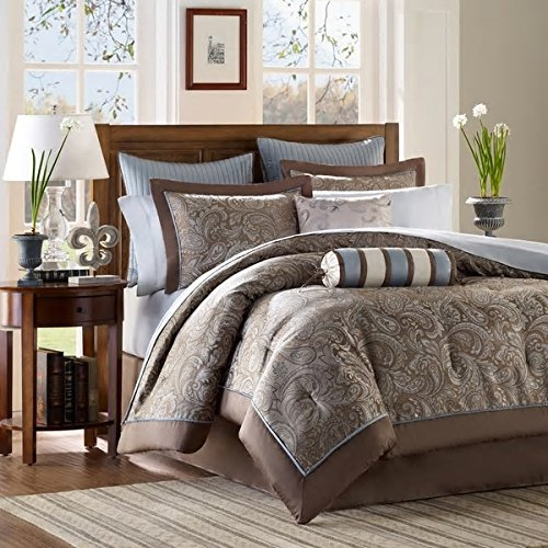 Look Of Elegance Traditional Design Blue King 12-Piece Bed In A Bag With Sheet Set Soft Beautiful Rich Hotel Bedspread Professional Gorgeous Addition To Bedroom Madison Park Attractive Bedding by PH (Image #5)